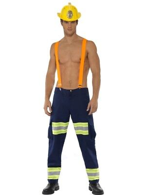 Fever Male Firefighter Fireman Adult Mens Smiffys Fancy Dress Costume - Medium