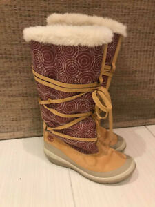 Authentic Timberland Ladies Leather/Cloth Winter Boots-Like New