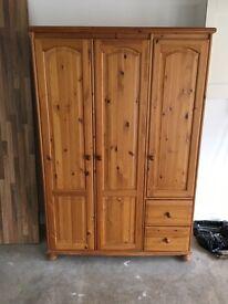 Large pine wardrobe triple