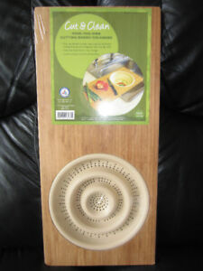 Bamboo Over The Sink Cutting Board W/Strainer