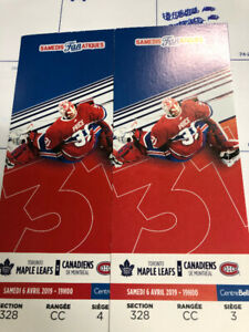 Billets Canadiens - Maple Leafs Tickets - 6 Avril / April 6th