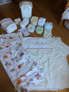 Cloth diapers for infant and 6-12 months, pail and bedding linen