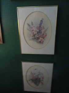 2 Beautiful & Stunning Large Floral Prints --Matted with frames