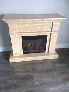 Marble electric fireplace.