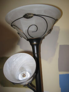 Two stand up floor lamps with metal wire decor
