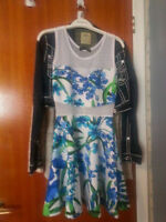Lovely floral dress with mesh neckline