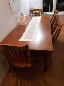 7 foot harvest table with 6 chairs