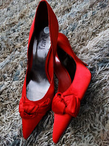 JLO Red Satin Pumps