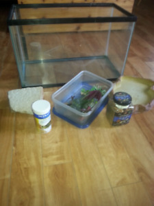 Tank and accessories with turtle food