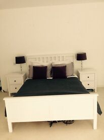 White painted wooden King Size Bedframe