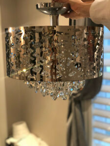 Crystal semi flush chandelier