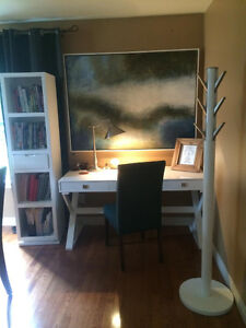 Desk, Rotating Bookcase w/ mirror, and Coat Rack (matching set)