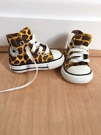 Giraffe print converse, size 2 baby trainers. Worn once!