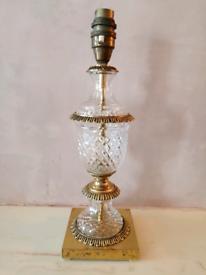 Vintage Brass & Cut Glass Table Lamp Light