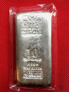 10 oz Republic Metals Corp Fine Silver (.999+) Cast Bar ~ Sealed