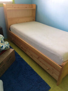 Solid Pine Twin Bed (2 available, priced separately) - $300