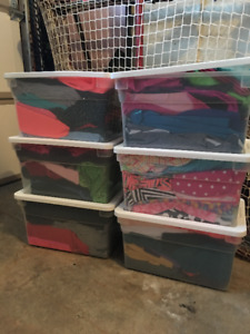 Over 50 metres of various stretch fabrics $20/bin or $110/lot