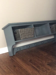 POTTERY BARN FARMHOUSE STYLE SHELF WITH CUBBIES AND COAT HOOKS