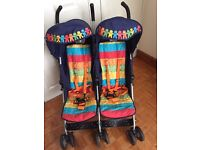 Cosatto Ditto Twin Stroller - Random Rainbow double pushchair