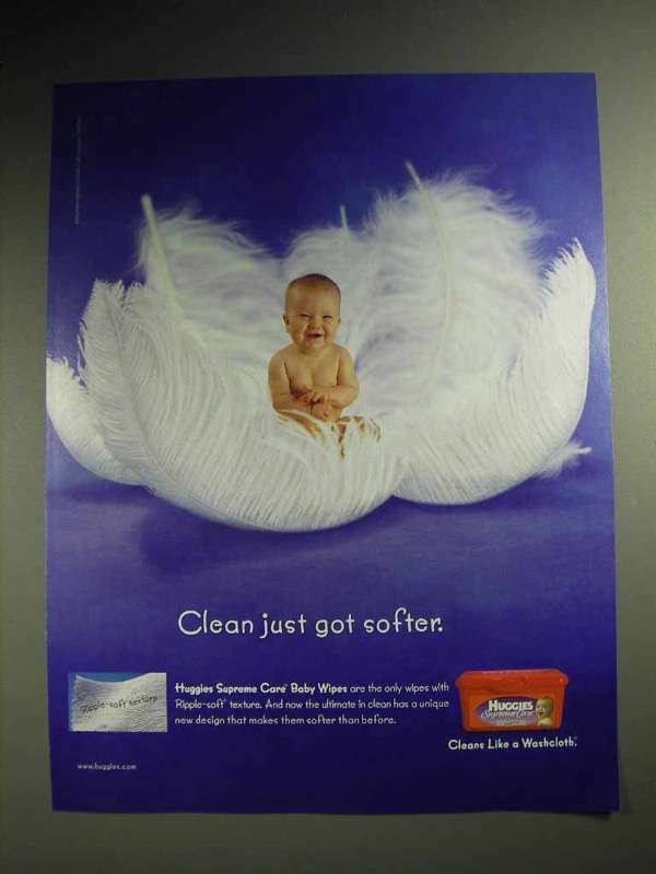 2001 Huggies Baby Wipes Ad - Clean Just Got Softer