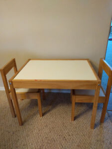 IKEA children's table with 2 chairs.