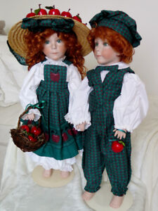1994 APPLE ANNIE + APPLE ANDY DOLLS BY LINDA RICK THE DOLL MAKER