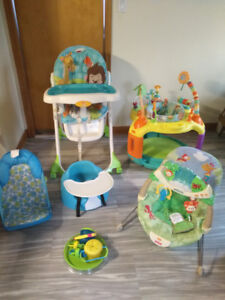 Baby gear(all $125 or individual) high chair, exersaucer, Bumbo+