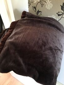 Large double layer choc brown faux fur throw.