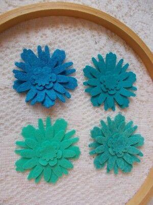 Felt Flower Die Cuts (Wool Blend Felt)  16 pieces or 4 full flowers (Tranquil)