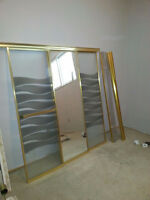 3 panel mirror and glass gold colour shower doors and tracks