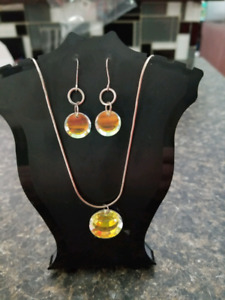 Beautiful sterling silver crystal earring & necklace set.