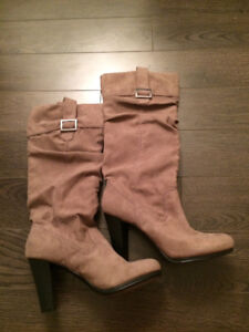 Zara Brown Buckle Boots Size 7