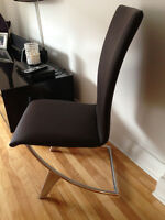 6 leather chrome modern chairs