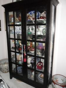 "Wood & Glass 5-Shelve CURIO Cabinet w Sliding Doors 70""H"