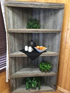 Barn wood corner shelving unit