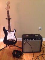 Fender guitar and amp+headphones $250
