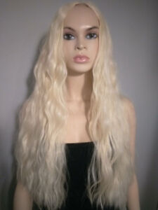 BRAND NEW: Long Platinum Blonde Wavy Wig Straight Parting
