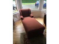 Chaise Lounge, Terracotta Wool Fabric