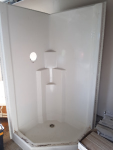 One piece shower stall. Good shape,80 inches tall, 38 inches ne