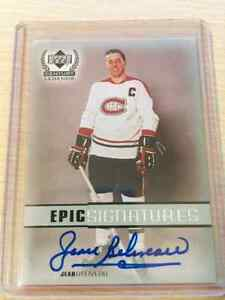 Lot cartes hockey autographes Beliveau Bossy Cheevers ++ BV$626