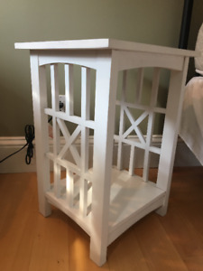 White Wooden End Table with Closed Base