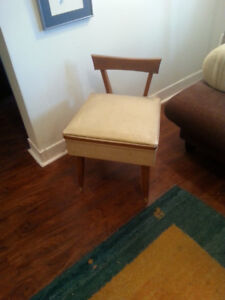 Vintage Danish Modern Sewing Chair, Wood & Vinyl with Storage