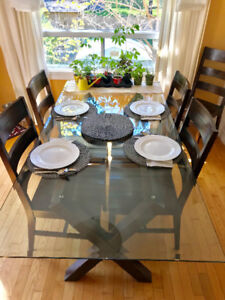 Pier 1 Glass Top Dining Table