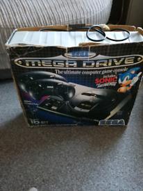 Original Sega mega drive 2 controllers and sonic the hedge hog