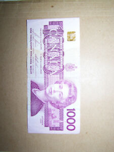 Currency Bill Bank Note Paper Money Bank of Canada $1000