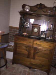 Furnature.....Antique hutch, futon,day bed,tv stand,chairs,lamps