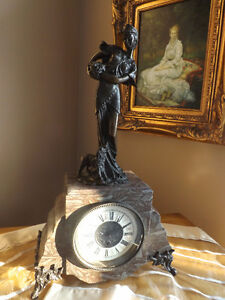 French Classical Mantel Clock with Fantastic Bronze Sculpture.