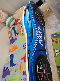 Boys wooden car bed