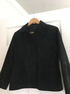 Women's Suede Leather Suit -jacket and pants size 10 petite