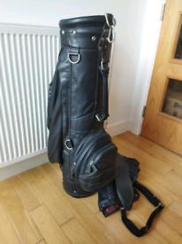 Sold !!!BLACK LEATHER GOLF BAG